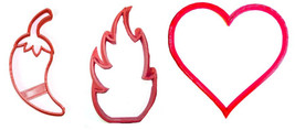 You Are Hot Valentines Frame Pepper Fire Set 3 Cookie Cutter 3D Print US... - $4.99