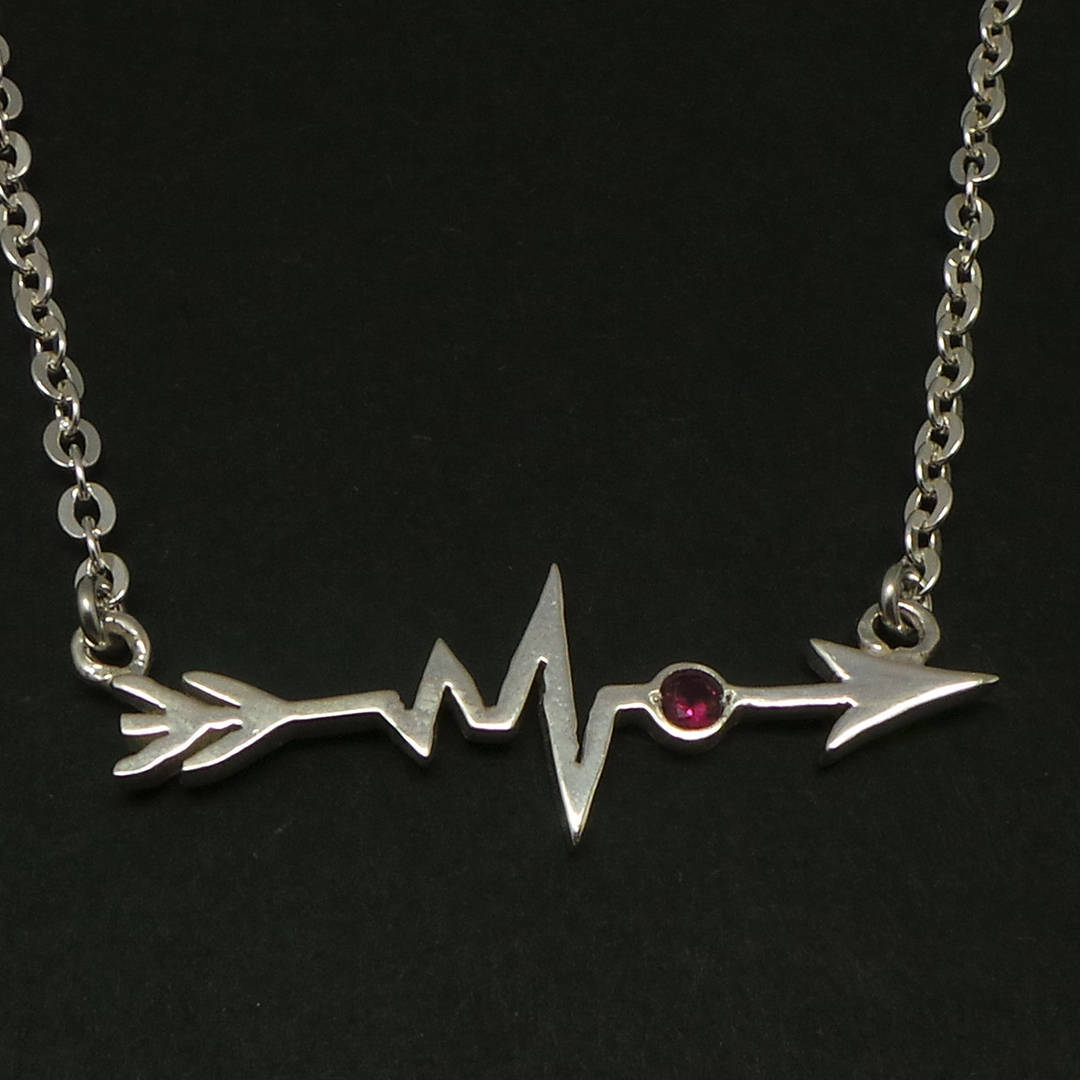 Primary image for Handmade 925 Silver Sideways Arrow Heartbeat Necklace Choker