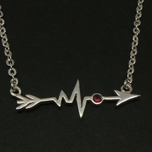 Handmade 925 Silver Sideways Arrow Heartbeat Necklace Choker - $45.00