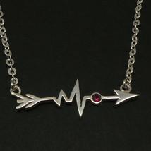 Handmade 925 Silver Sideways Arrow Heartbeat Necklace Choker - $45.00