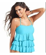 Island Escape Women's Bandeau Tiered Ruffle Aqua Color Tankini Top – Size 8 - $19.59