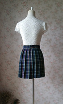 Dark Green PLAID SKIRT School Plus Size Mini Plaid Skirts Women Pleated Skirts image 2
