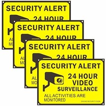 Zaohe 4-Pack Video Surveillance Signs Security Warning Sign 24 Hour Secu... - $33.40