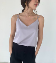 V-Neck Sleeveless Chiffon Tank Top Summer Women's Chiffon Sleeveless Top Blouse image 8