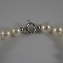 SOLID 18K WHITE GOLD BRACELET WITH FRESHWATER WHITE PEARL MADE IN ITALY  7,48 IN image 2