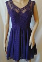 Free People Lace Dress Size 2 Purple Lined Boho Sleeveless Short Fit Flare - $39.50