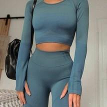 Seamless Yoga Sets 2 Pieces Long Sleeve High Waist Sports Women Gym Wear... - $39.99