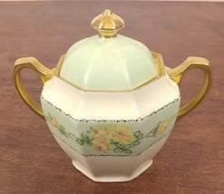 Beautiful Early German Hand Painted Floral Porcelain Sugar Bowl with Lid - $28.74