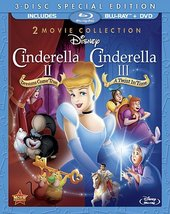 Disney Cinderella 2 Dreams Come True/Cinderella 3 Twist In Time Blu-ray/DVD New