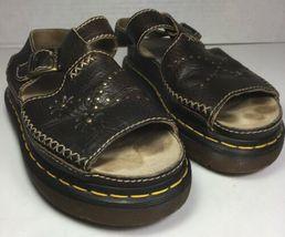Dr Martins Brown Leather Buckle Slide Sandals Flower Detail-Women's USA Size 7 - $57.22