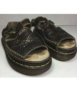 Dr Martins Brown Leather Buckle Slide Sandals Flower Detail-Women's USA ... - $57.22
