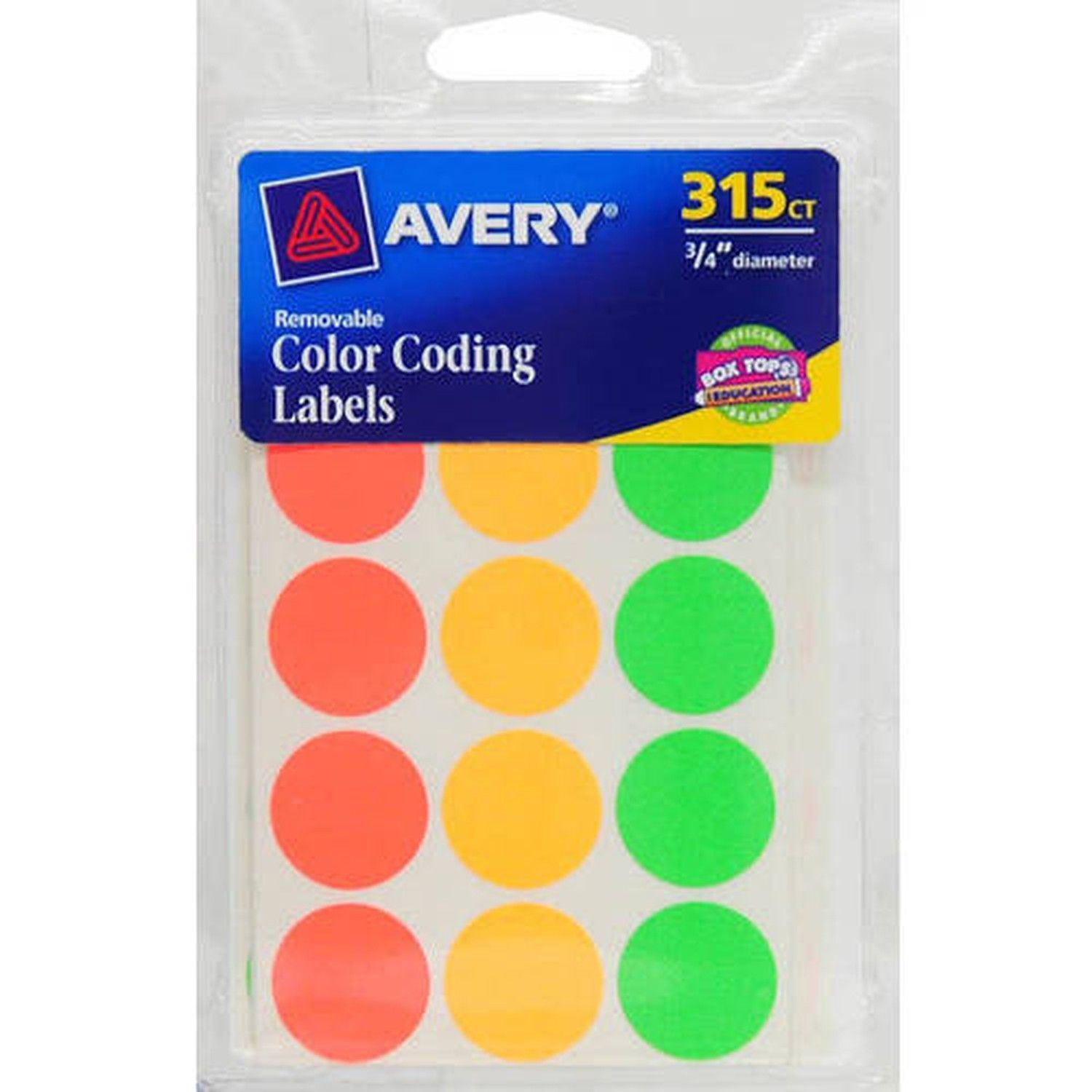 "Avery(R) Assorted Neon Color-Coding Labels 6733 3/4"" Round Pack of 315"