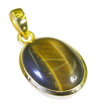 classy Tiger Eye Gold Plated Brown Pendant Glass generally US - $5.93