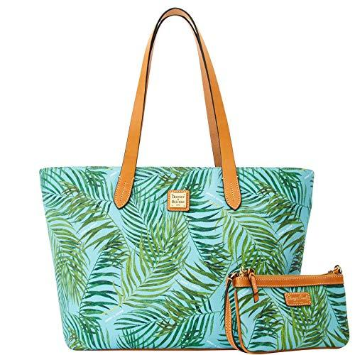 Primary image for Dooney & Bourke Siesta Coated Cotton Large Zip Shopper Slim Wristlet Tote, Carib