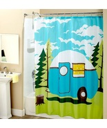 Happy Camper Shower Curtain Nostalgic Travel Trailer Retro RV Camping Ba... - $28.49