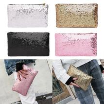 "Women""s Glitter Sequins Handbag Party Evening Envelope Clutch Bag Wallet... - $8.10"