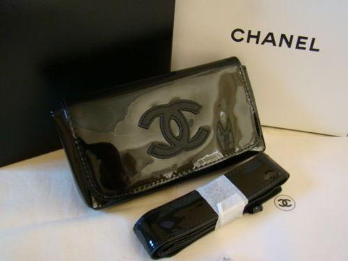 c250d23f987114 New Auth CHANEL VIP Black Patent Waist Belt Bag Fanny Pack + Free Mascara