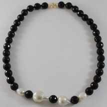 18K YELLOW GOLD NECKLACE BIG DROP BAROQUE PEARL 20 MM & ONYX 10 MM MADE IN ITALY image 2