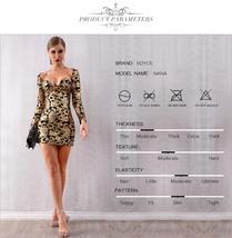 New Sexy Long Sleeve Sequinned Deep V Gold Mini Club Dress image 3