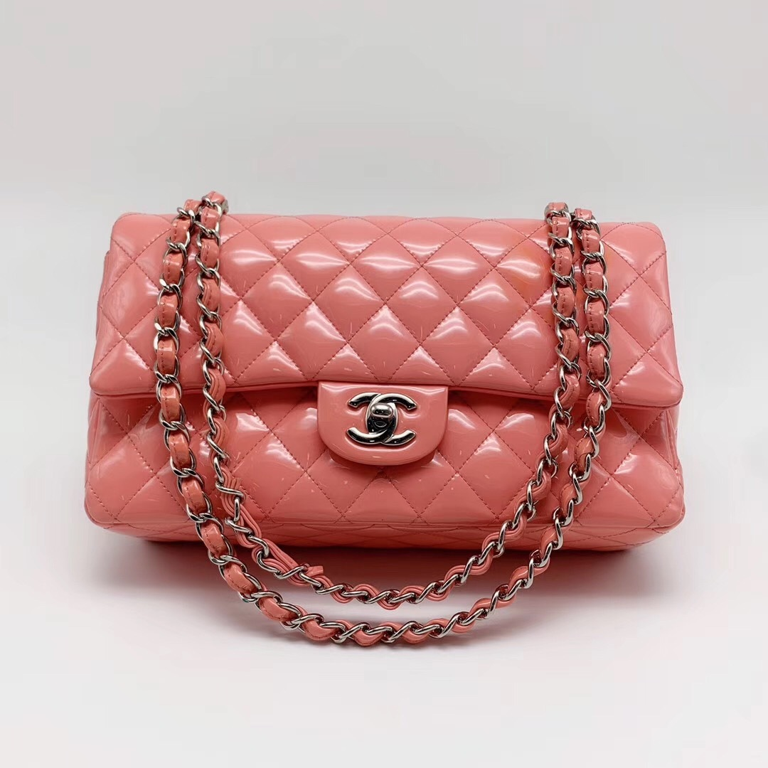 AUTHENTIC Chanel PINK PATENT QUILTED LEATHER MEDIUM Classic Double Flap Bag SHW