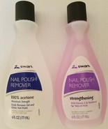 Swan Nail Polish Removers 6oz/Bottle, select 100% Acetone or Strengthening - $3.95+