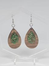 Green/Gold Walnut Wood Drop Earrings - £9.17 GBP