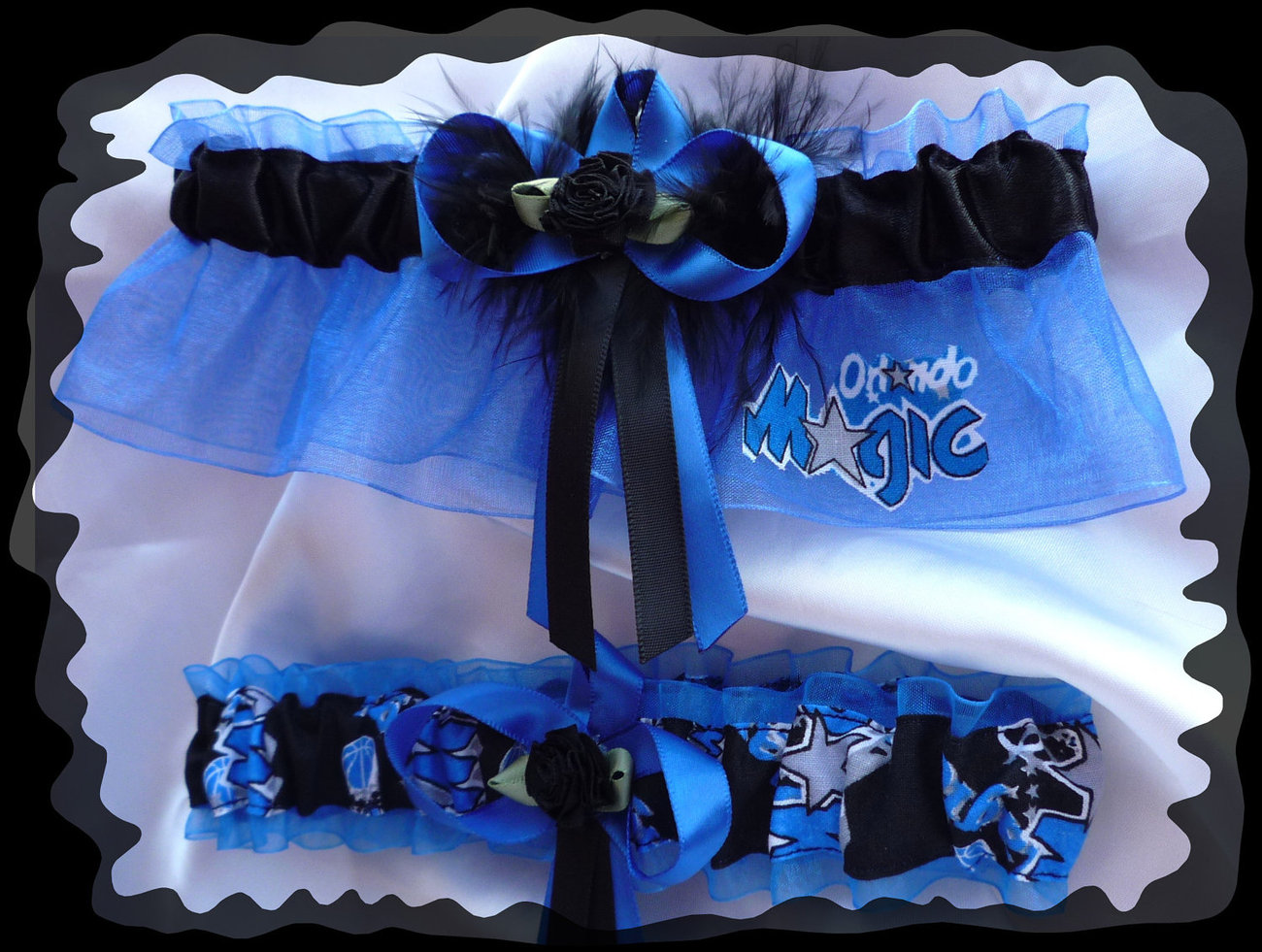 Orlando Magic Blue NBA Fabric Wedding Garter Set BB