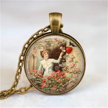 VINTAGE VALENTINE Necklace Pendant Jewelry Victorian Valentine, Antique ... - €11,38 EUR