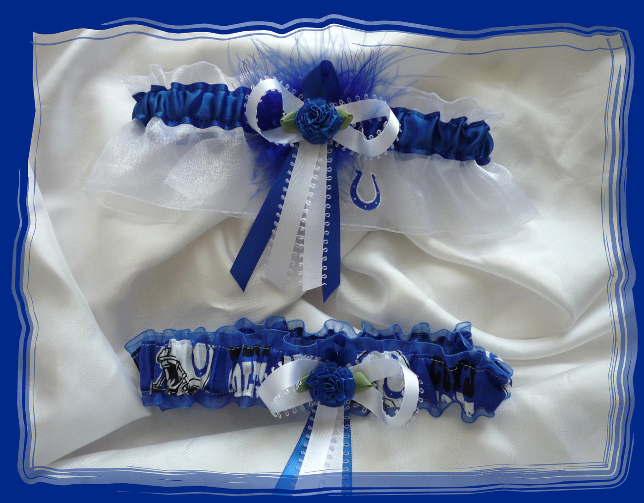 Indianapolis Colts White/Blue Organza Fabric Flower Wedding Garter Set BB