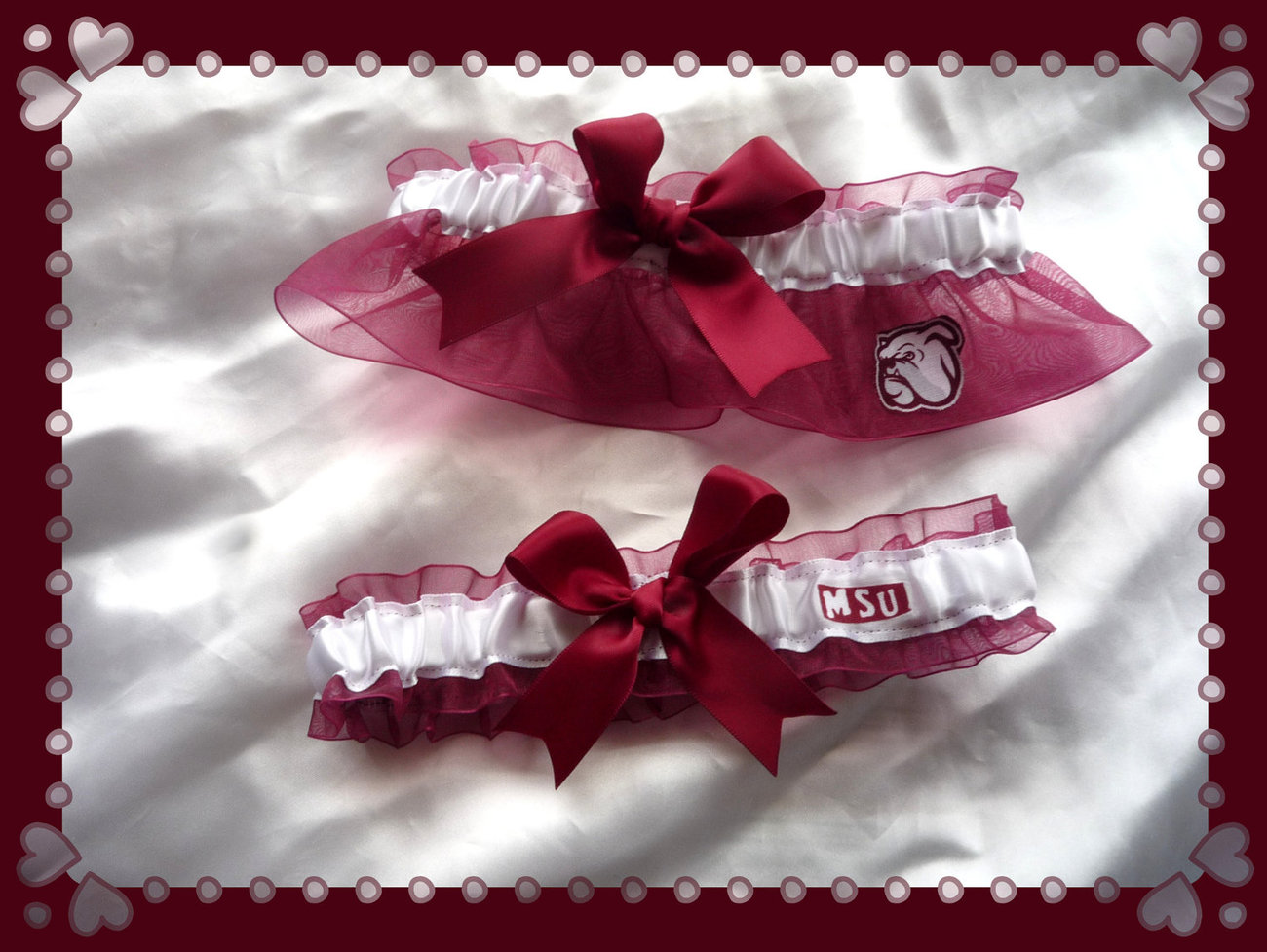 Mississippi State Wine Ribbon Wedding Garter Set