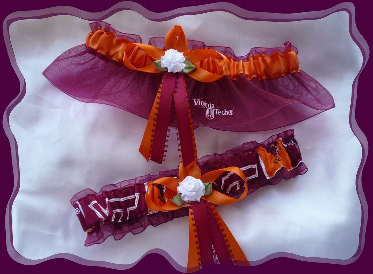 Virginia Tech Garnet Organza Fabric Flower Wedding Set
