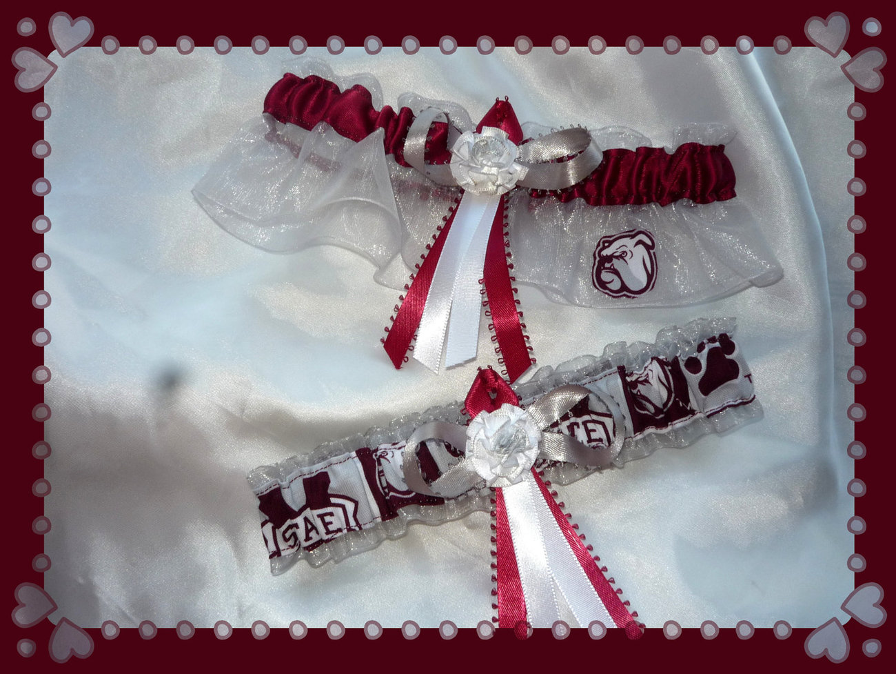 Primary image for Mississippi State Silver Organza Fabric Flower Wedding Garter Set