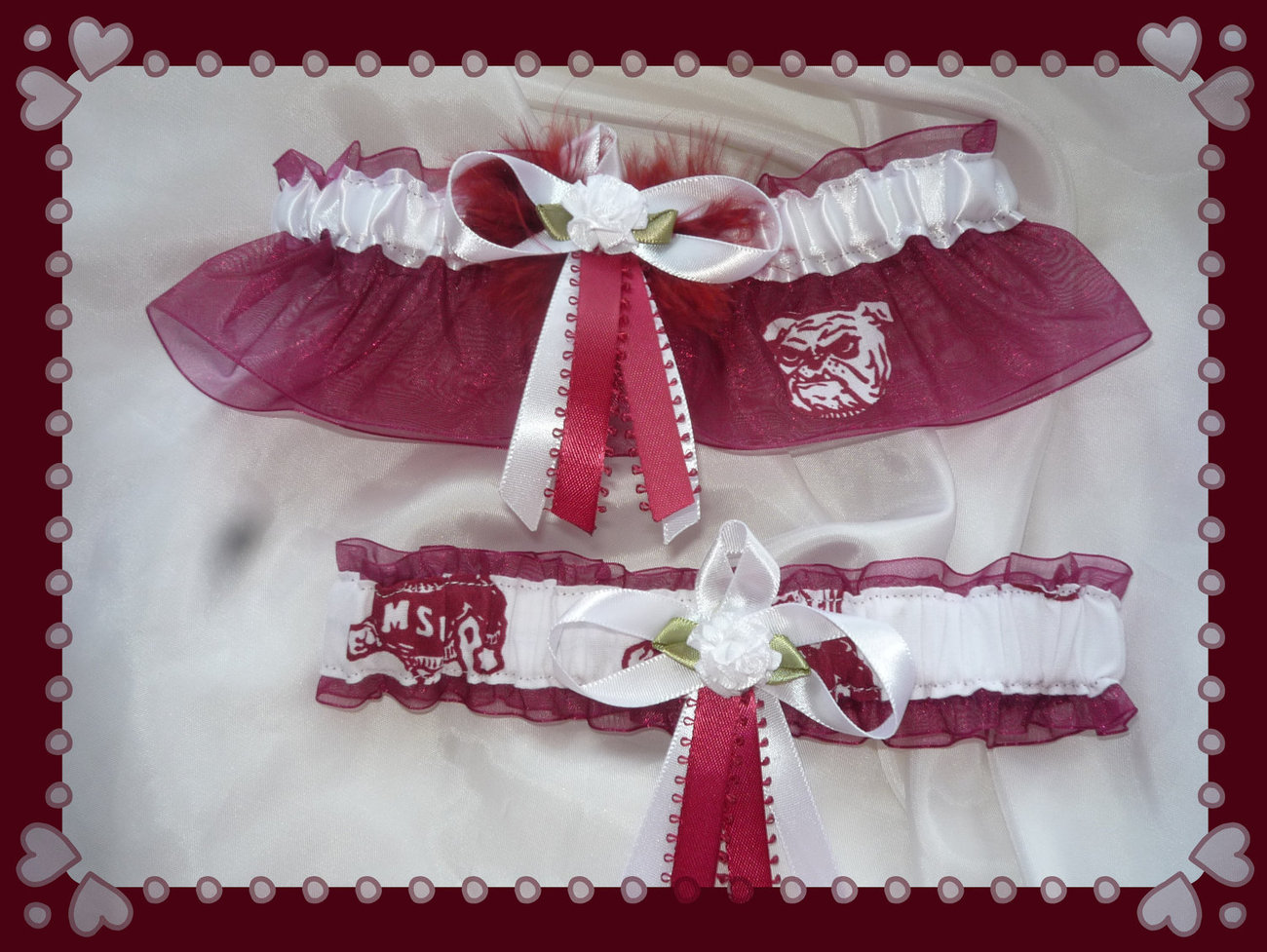 Mississippi State Wine Organza Fabric White Flower Wedding Garter Set MB