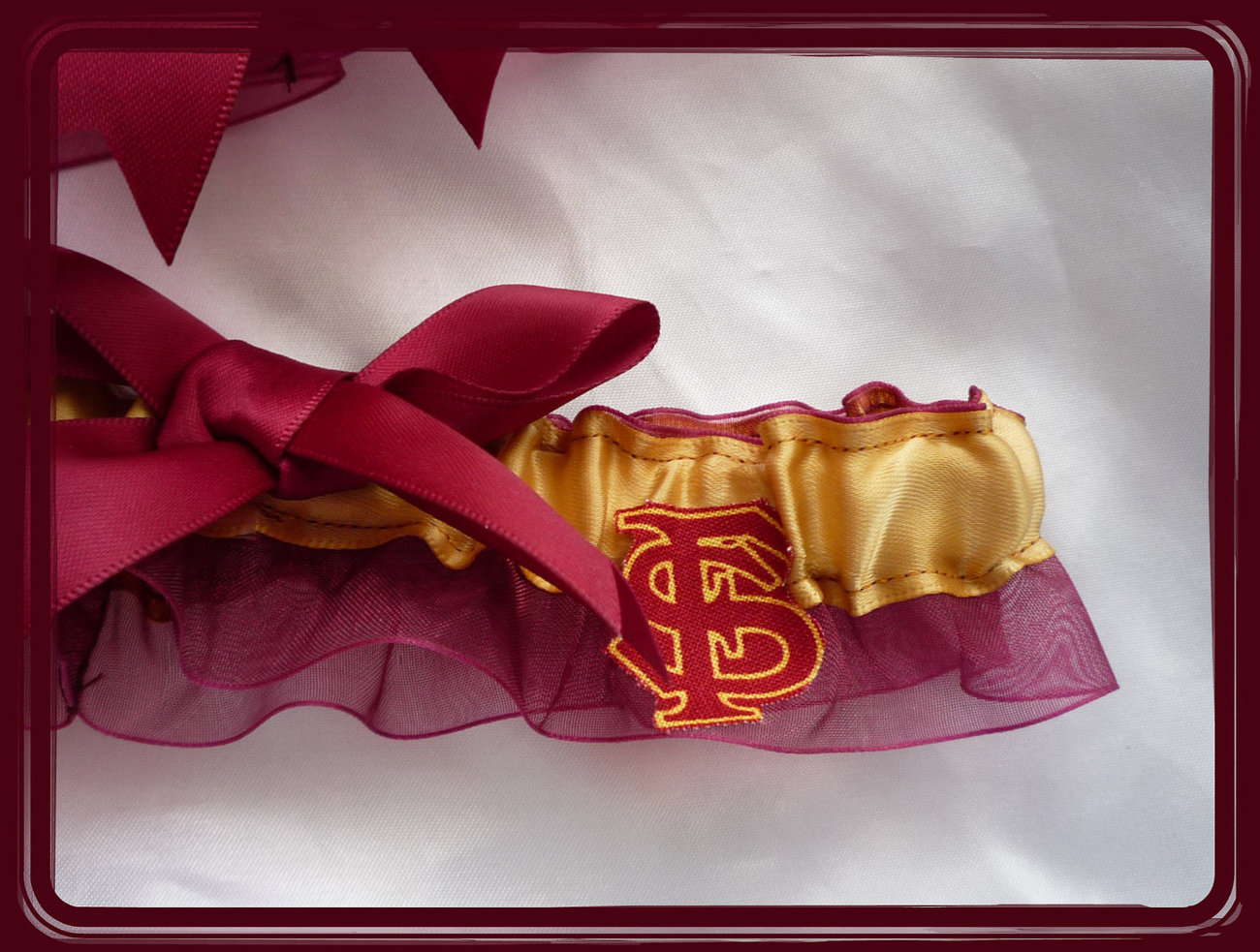Florida State Seminoles Garnet Organza Ribbon Wedding Garter Set
