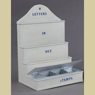 Letter Holder With Stamp Storage - Metal