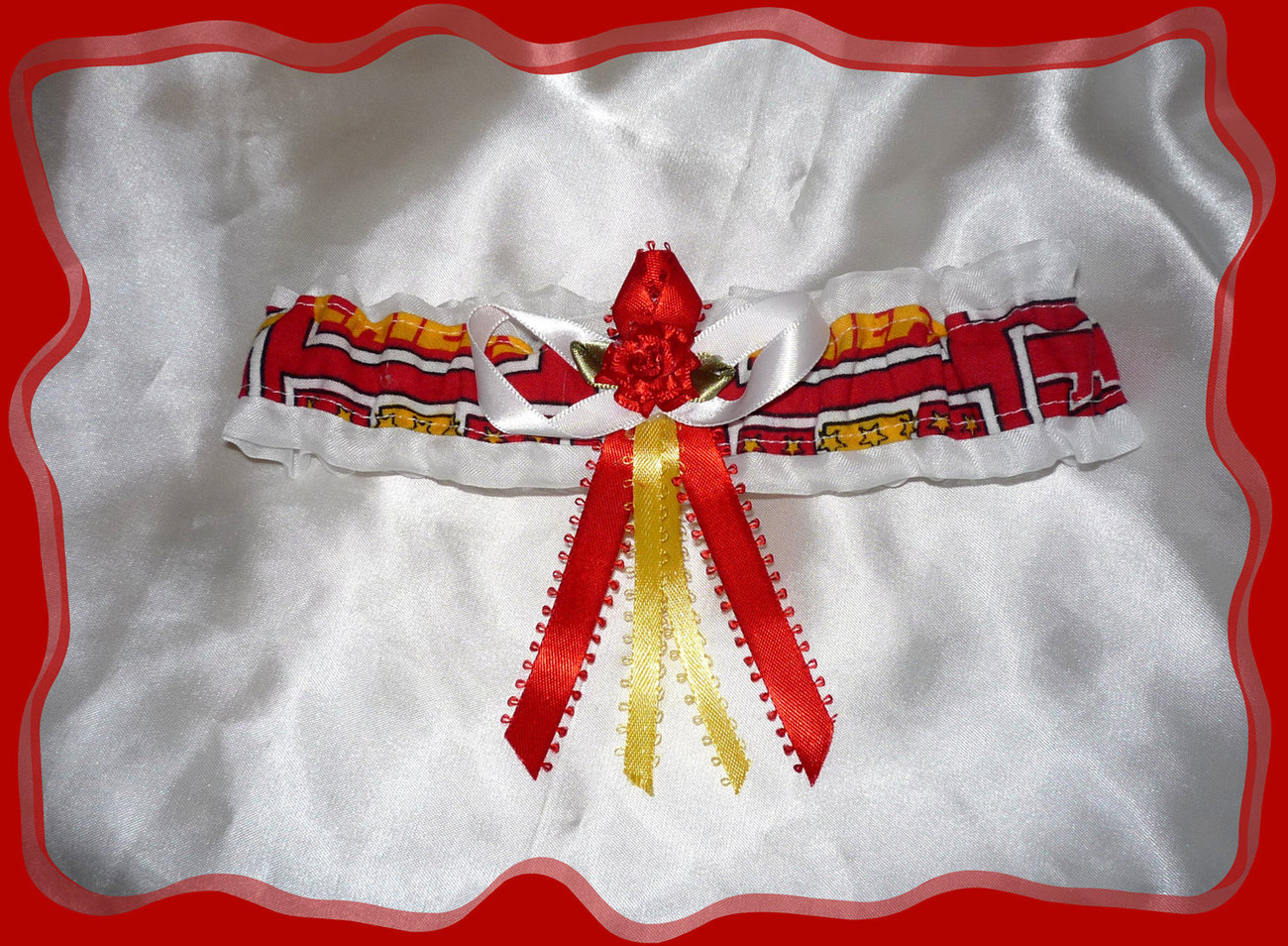 Kansas City Chiefs NFL Fabric Flower Wedding Garter Toss