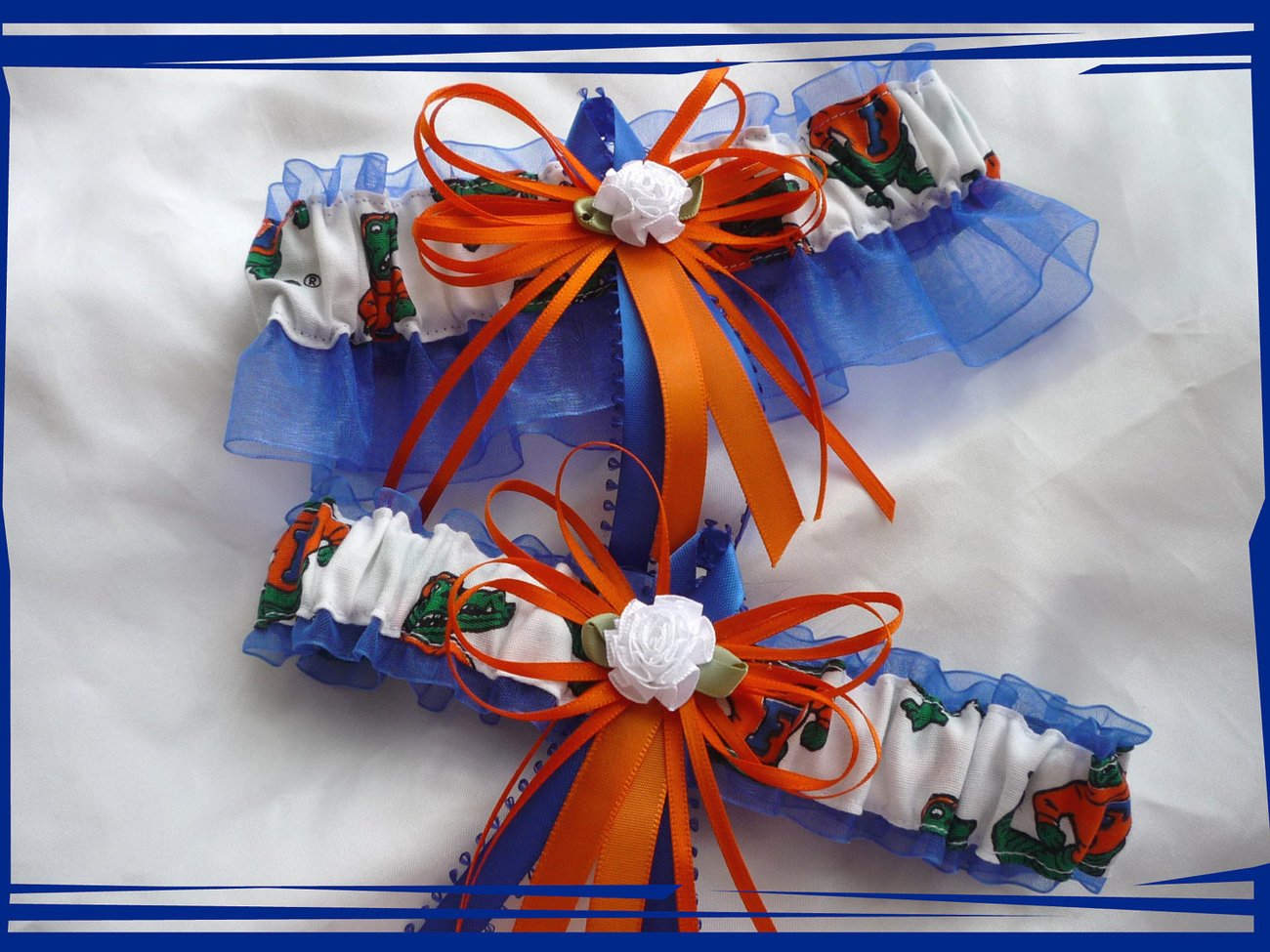 Primary image for Florida Gators Blue Organza Fabric Skinny Ribbons Flower Wedding Garter Set