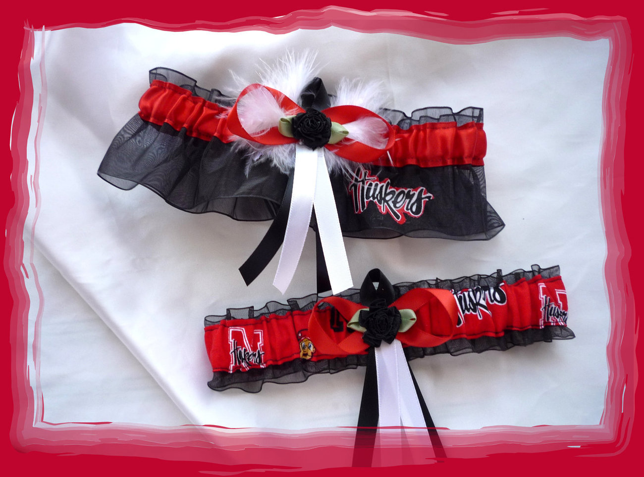 Nebraska Cornhuskers Black Wedding Garter Set WB