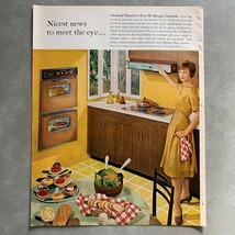 1961 General Electric Eye-Hi Range Controls Oven Print Magazine Ad - $9.89