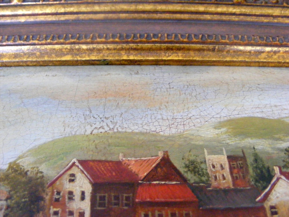 "Americo Cala ""Medieval Village"" Original Acrylic Painting Framed One of a Kind"