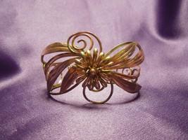 Krementz Gold Tone Wired Floral Cuff Bracelet Vintage Wide Decorative - $44.55
