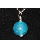 Matte Blue Ball Pendant - Unique Glass Jewelry ... - $3.50