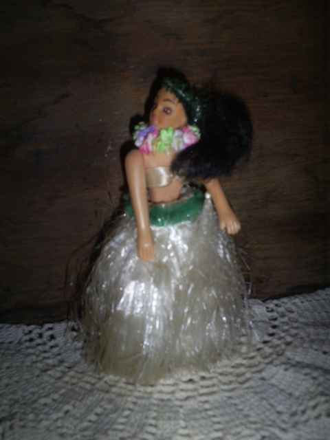Vintage Hula Dancer for Dashboard, Lei and Grass Skirt, 6 1/4 inches tall