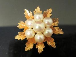 Vintage 14k Solid Yellow gold Genuine Pearl Cluster Pendant - $275.00