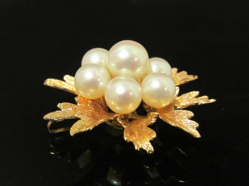 Vintage 14k Solid Yellow gold Genuine Pearl Cluster Pendant