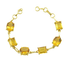 Yellow Gold Plated Glass inviting Citrine CZ freely Bracelet AU gift - $26.52