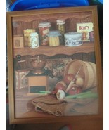 Vintage Picture W/Glass For Kitchen-Ice Pick-Apples -Onions Potatoes-Tins Burlap - $19.79