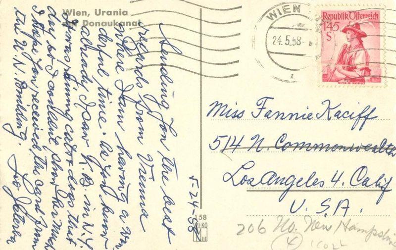 Austria, Wien Urania mit Donaukanal 1958 used Postcard