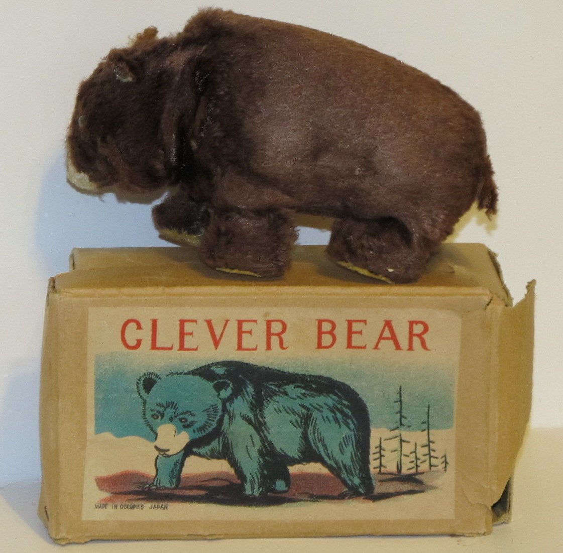 Clever Bear Walking Wind-Up Toy Bear Made in Occupied Japan