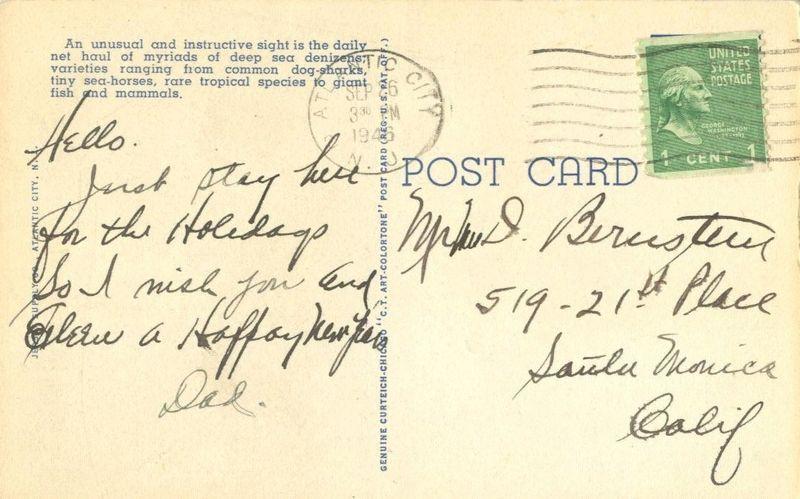 Deep Sea Net Haul, Million Dollar Pier, Atlantic City, NJ, 1946 used Postcard